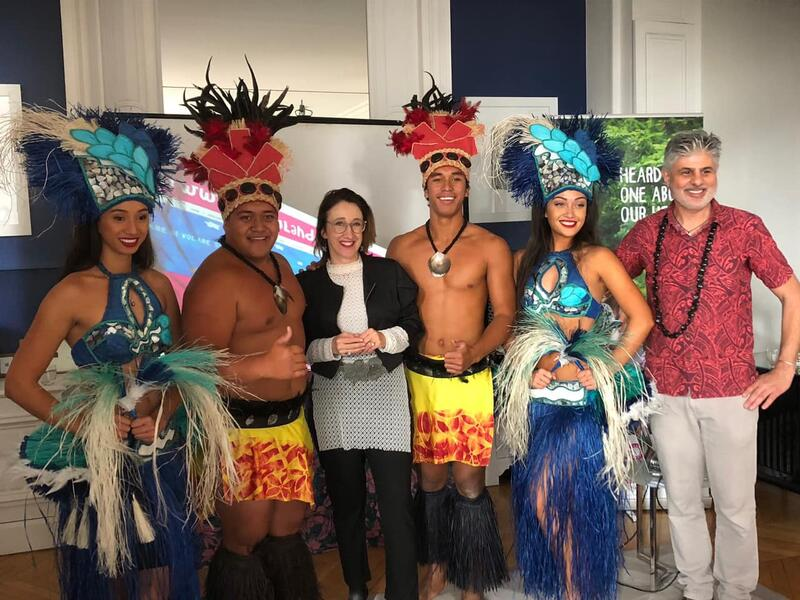 Cook Islands team pictured with Her Excellency, Jane Coobs - New Zealand Ambassador to France