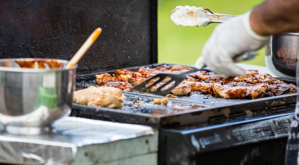 Local BBQ Chicken cooking at the Saturday Market